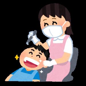 男の子と歯科衛生士さん